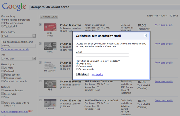Google Interest Rates Email