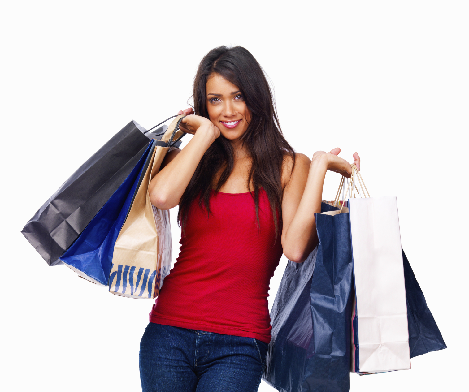 Closeup of a girl holding shopping bags isolated on white background